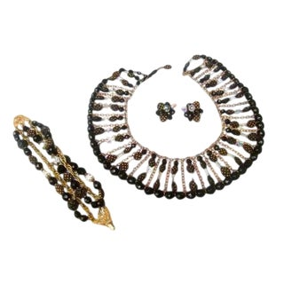 Trifari Crystal Beaded Set. Exquisite. 1960's. For Sale