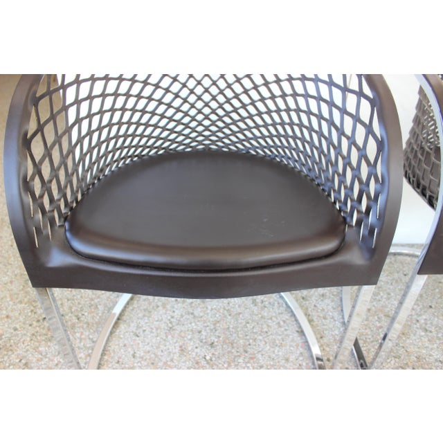 Vintage Mateograssi Dining Chairs in Leather & Chrome - Set of 6 For Sale - Image 9 of 13