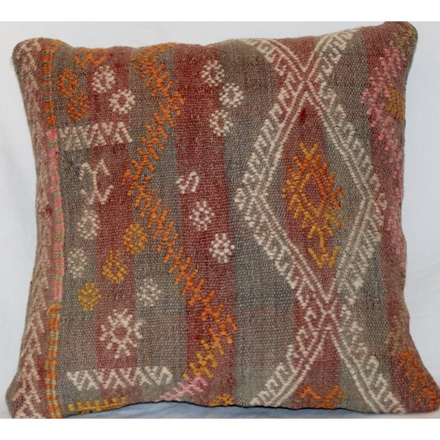 Boho Chic Red and Gray Vintage Handmade Wool Boho Pillow For Sale - Image 3 of 8