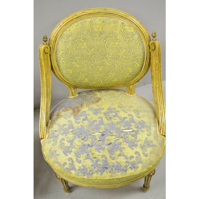 Yellow Vintage French Louis XVI Style Low Petite Boudoir Small Hiprest Chairs - a Pair For Sale - Image 8 of 13