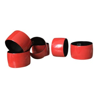 Japanese Lacquered Napkin Rings - Set of 6