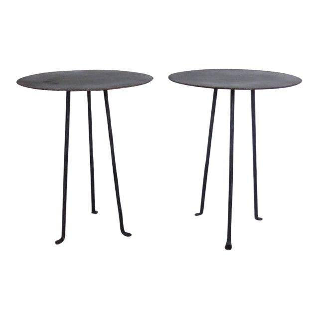 Pair of Custom Iron Tripod Tables With Bronze Edging For Sale
