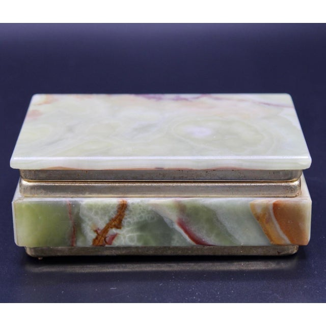 Hollywood Regency Vintage Light Green Marble Lidded Treasure Box For Sale - Image 3 of 13