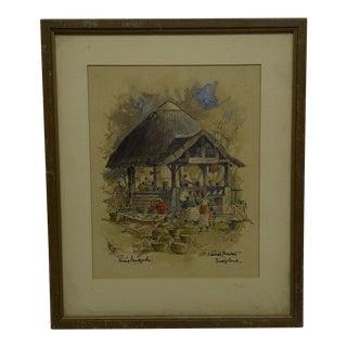 """""""Native Market - Swaziland"""" Framed Print For Sale"""