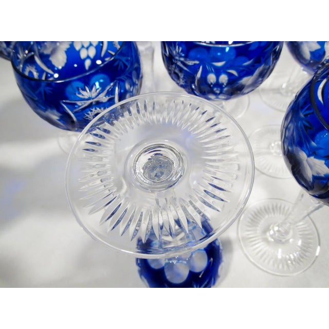 Nachtmann Traube Cobalt Blue Cut Clear Hock Wine Goblets - Set of 9 For Sale - Image 10 of 11