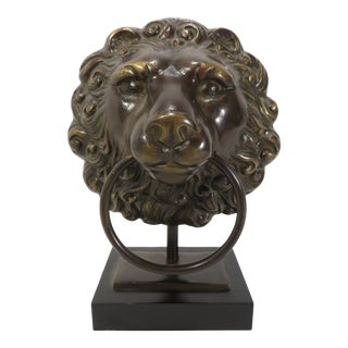 Late 20th Century Bronze Lion Guardian Doorknocker Sculptural Table or Desk Lamp For Sale