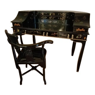 Chinoiserie Harpsichord Style Desk With Chair - A Pair