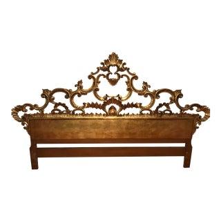 1960s Italian Gold Gilt Carved King Headboard For Sale