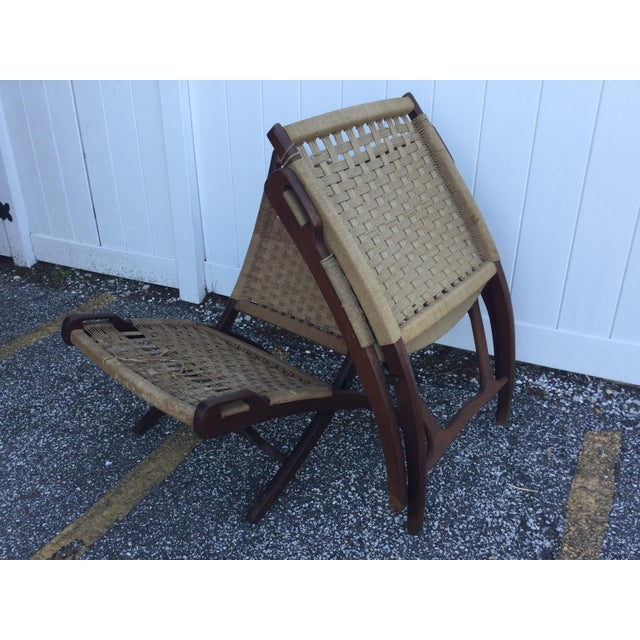Brown Hans Wegner Style Folding Rope Chairs - a Pair For Sale - Image 8 of 9