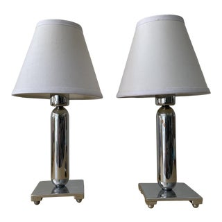 1920s Small Art Deco Chrome Table Lamps - a Pair