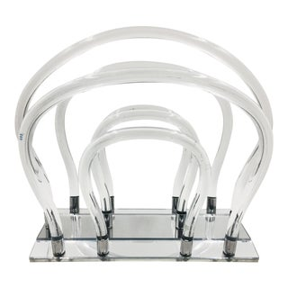 1960s Mid Century Modern Dorothy Thorpe Lucite, Chrome, and Mirror Magazine Rack For Sale