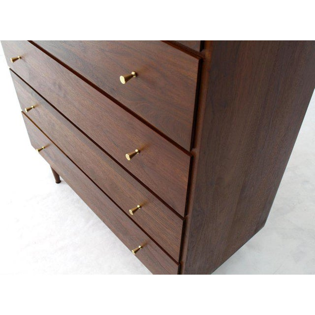 Brass Solid Oiled Walnut Five-Drawer High Chest Dresser With Solid Brass Cone Pulls For Sale - Image 7 of 12