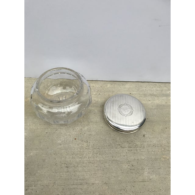 Antique Collectible Crystal Powder Jar /Candy Jar /Container With Sterling Lid Top For Sale - Image 4 of 13