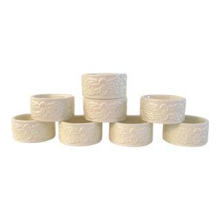 1980s Vintage White Ceramic Floral Napkin Rings- Set of 8 For Sale