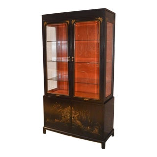1950s Asian Union National Two Piece Lighted Curio/Dining Cabinet For Sale