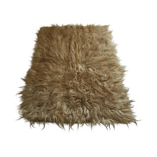 "Handmade Natural Wool Shaggy Tulu Rug - 5'8"" X 4'2"" For Sale"