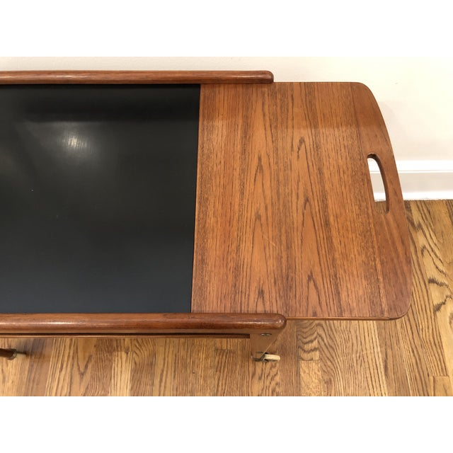 1960's Mid-Century Modern Wooden Bar Cart For Sale - Image 4 of 9
