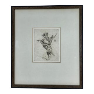 "Early 20th Century Antique Edward Borein ""Reading Back"" Drawing For Sale"