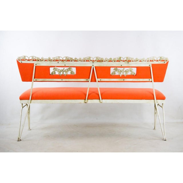 Hollywood Regency Orange and White Iron Benches - a Pair For Sale - Image 12 of 13
