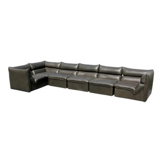 "1970s Vintage Guido Faleschini for Pace I4 Mariani Italian Leather ""Montecarlo"" Sectional Sofa For Sale"