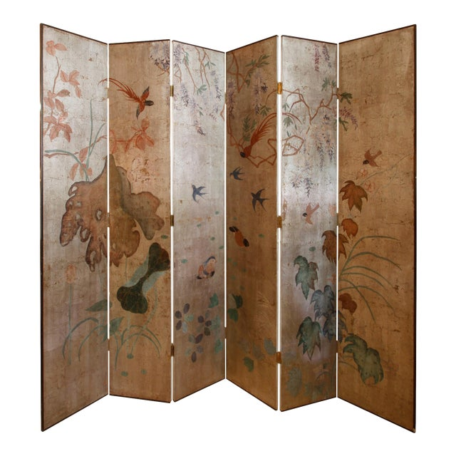 Silver Leaf Six-Panel Screen in Max Kuehne Manner For Sale