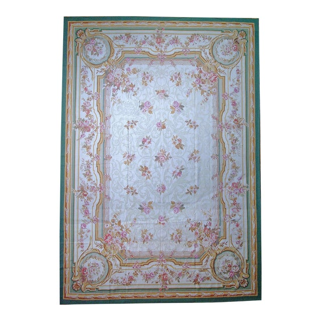 "Pasargad Aubusson Hand Woven Wool Rug - 8'11"" X 12' 2"" For Sale"