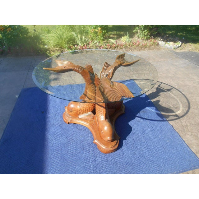 Awesome Vintage Hand-Carved Triple Dolphin Serpent Center Lamp End Table in the French Regency Decor. This gorgeous table...
