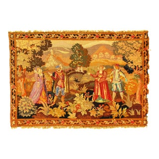 Late 19th Century Antique French Floral Tapestry - 3′4″ × 5′ For Sale