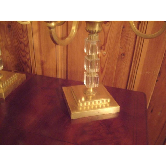 1930s Pair 1930's Brass and Lucite Candelabras For Sale - Image 5 of 8