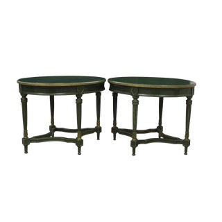 1980s Neoclassical Mission Avenue Studio Hunter Green and Gold Side Tables - a Pair For Sale