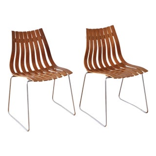 "1960s Vintage Hans Brattrud for Hove Mobler Scandia ""Junior"" Chairs- A Pair For Sale"