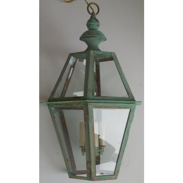 Hexagon Shabby Chic Hanging Copper Lantern - Image 3 of 11