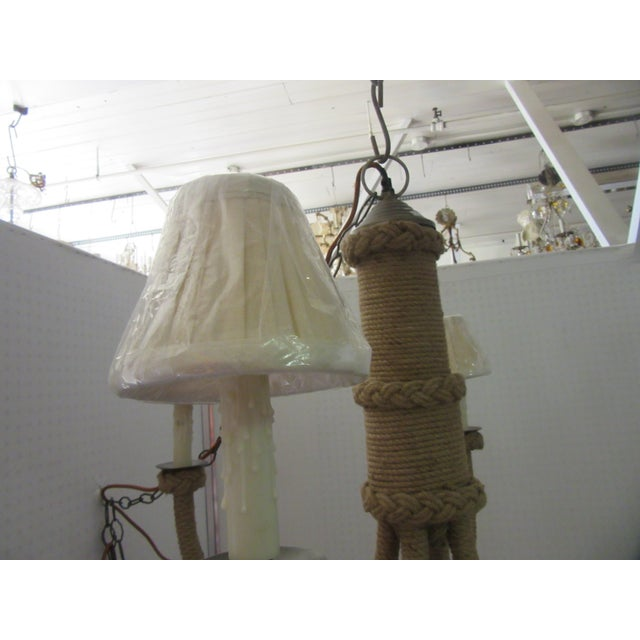 Jamie Young Jute Rattan Rope Nautical Four Light Chandelier With Linen Shades For Sale In Philadelphia - Image 6 of 7