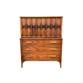 Mid Century Walnut and Rosewood Perspecta Highboy by Kent Coffey For Sale