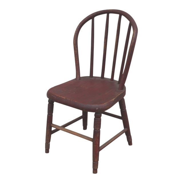 19th Century Original Red Painted Children's Chair For Sale