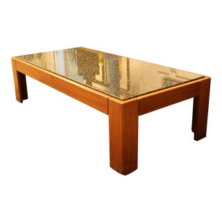 Mid Century Modern Tobia Scarpa Square Wood & Marble Coffee Table 1960s Italy For Sale