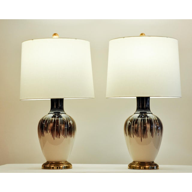Vintage Porcelain Brass Base Table Lamps - A Pair For Sale - Image 9 of 11