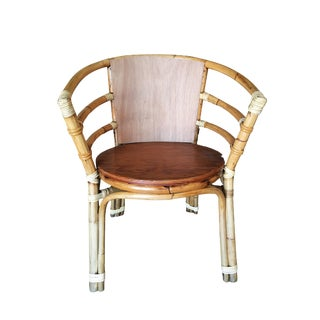 Mid-Century Rattan Barrel Back Armchair W/ Skeleton Arms For Sale