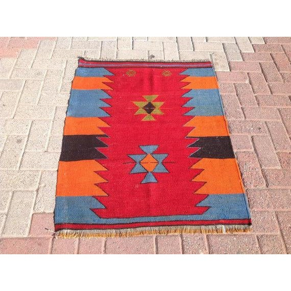 Vintage Turkish Kilim Rug - 2′9″ × 3′6″ - Image 2 of 6