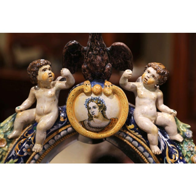 Blue 19th Century French Painted Ceramic Vanity Mirror With Cherub and Eagle Figures For Sale - Image 8 of 10