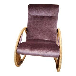 Mid Century Modern Designer Cane Rocker Newly Upholstered For Sale