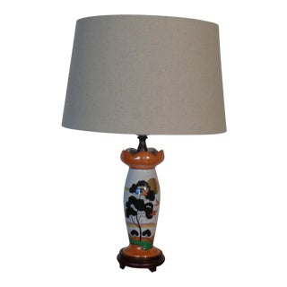 1930s Figurative Alabaster Lusterware Table Lamp For Sale