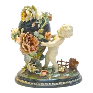 Antique French Barbotine Majolica Cherub & Floral Urn Jar For Sale
