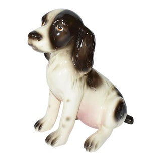 Mid Century Traditional Ceramic Dog Figurine in Brown Pink and Cream For Sale