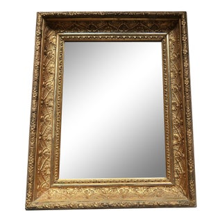 19th Century Antique Gold Leafed Frame With Mirror For Sale