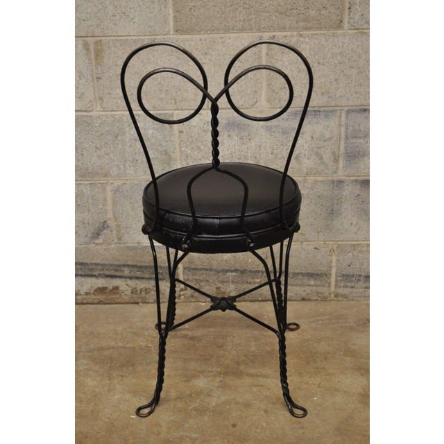 Antique Twisted Heart Back Wrought Iron Ice Cream Parlor Dining Chairs - Set of 4 For Sale - Image 9 of 11