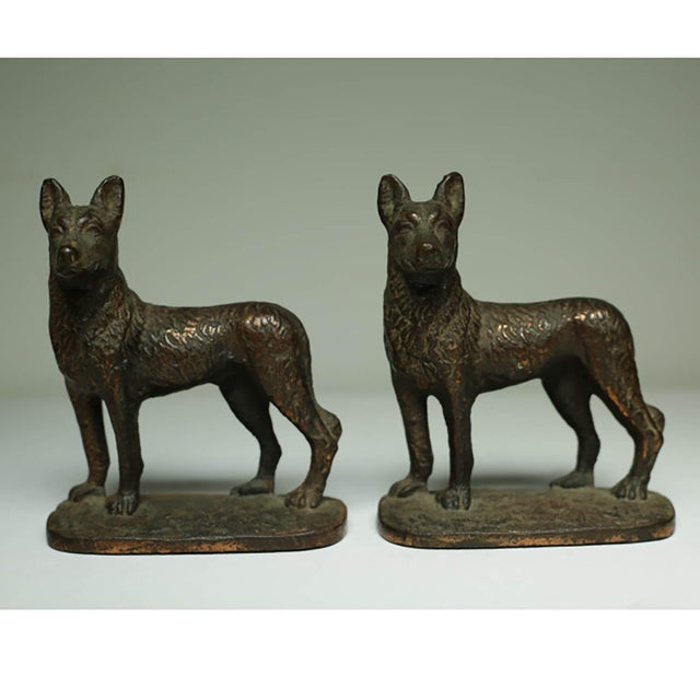 "Solid Bronze German Shepard Bookends Stamped ""1929 Gift House Inc. Nyc"" For Sale In San Francisco - Image 6 of 6"