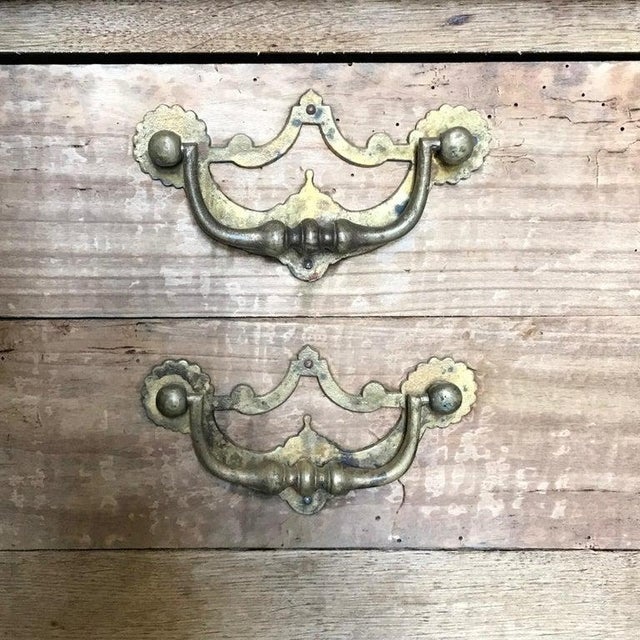 French Rustic Naturally Distressed Two Drawer Console Table Commode For Sale - Image 9 of 12
