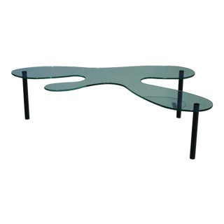 1980's Postmodern Biomorphic Glass Coffee Table For Sale