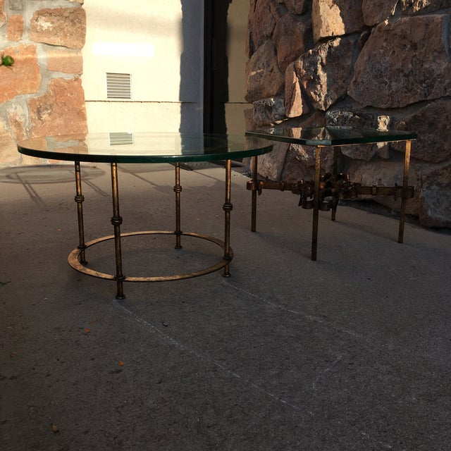 """Mid-20th century wrought iron side tables heavily gilded and 3/4"""" thick top glass 1 square and 1 round both signed and..."""